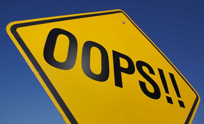 """roadsign with yellow background and the word """"oops!!"""" written in black color"""
