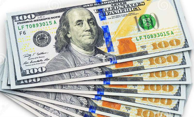 stack of new 100 US$ banknotes