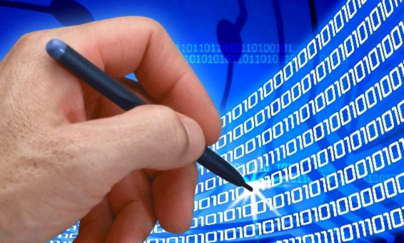 digital esignature, hands signing with 0 and 1