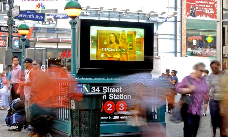 digital sign board at subway exit in New-York
