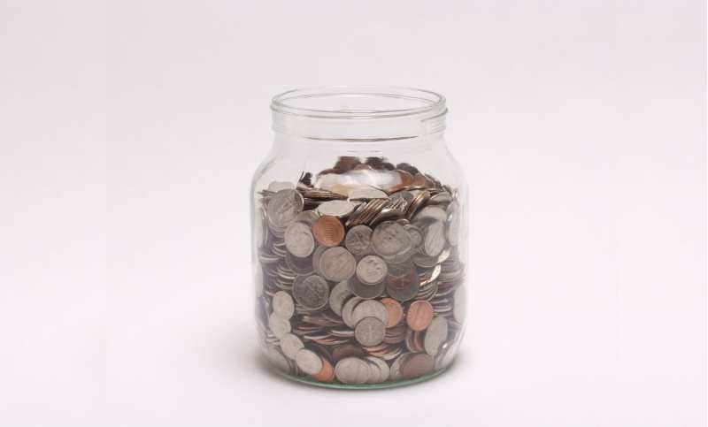 emergency fund: jar of coins