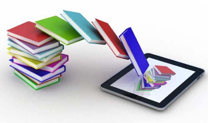 books with colorful covers getting inside a tablet
