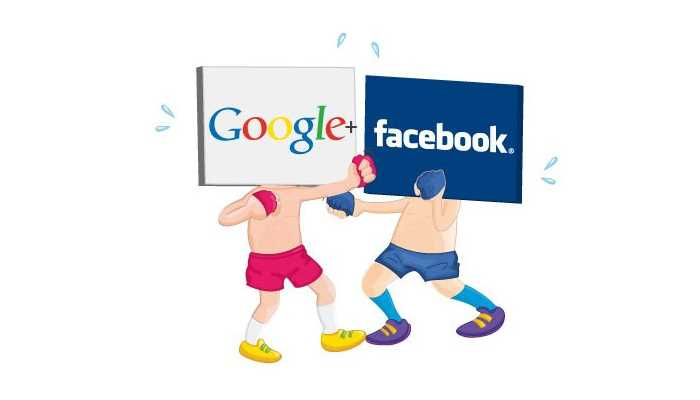 google and facebook characters fighting on a box ring