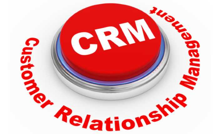 customer relationship management, red press-button with CRM letters