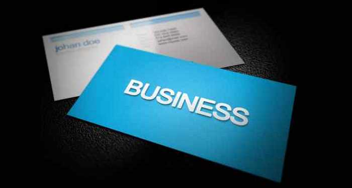 blue business card with the word business on it