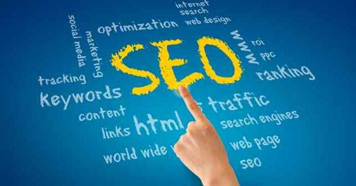 finger pointing at SEO on a screen
