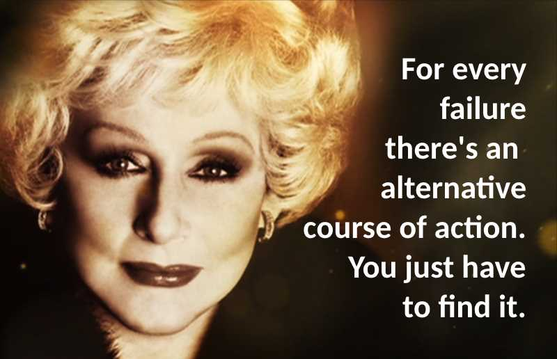Mary Kay Ash portrait with quote that for every failure, there is an alternative course of action, you just have to find it