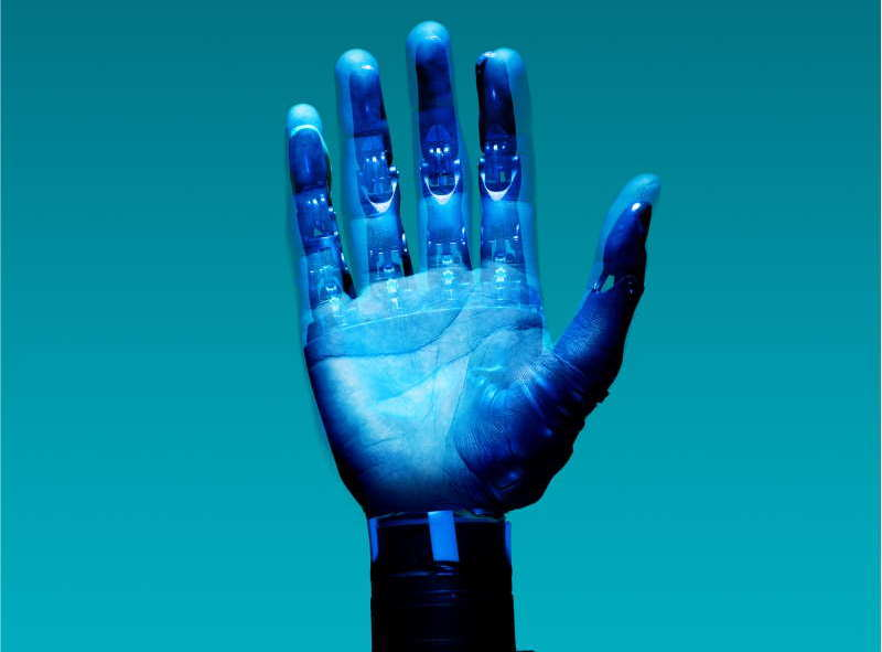 blue artificial hand