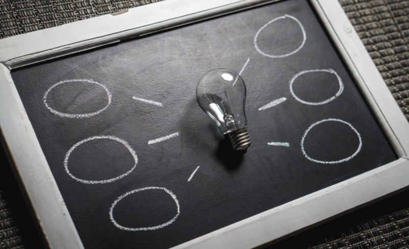 bulb on chalkboard