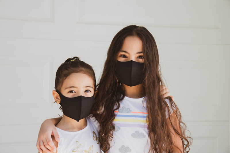 2 children with covid protection masks